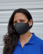 Leather Face Mask with Ear Loops, Black Heart