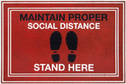 "Social Distancing Floor Sign Mat 24' x 36"" Red, Black"