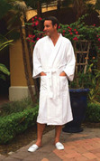 Waffle Weave 100% Cotton Bathrobe, White Kimono, 12 Per Case, Price Per Each
