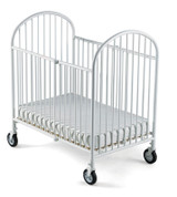 "Pinnacle™ Compact Steel Folding Crib with 4"" Casters and 4"" Foam Mattress, White"