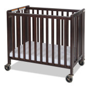 "Hideaway™ Compact Solid Wood Folding Fixed Side Crib with 4"" Casters & 2"" Foam Mattress, Antique Cherry"