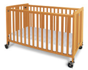 "Hideaway™ Full Size Solid Wood Folding Fixed Side Crib with 4"" Casters & 3"" Foam Mattress, Natural"