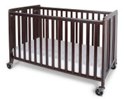 "Hideaway™ Full Size Solid Wood Folding Fixed Side Crib with 4"" Casters & 3"" Foam Mattress, Antique Cherry"