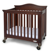 "Royale™ Compact Solid Wood Folding Fixed Side Crib with 4"" Casters & 3"" Foam Mattress, Antique Cherry"