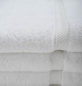 Oxford Gold Dobby Bath Towel 27x54, 15 lb. 86% Cotton 14% Polyester, Dobby Border, White, 1 dozen