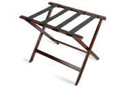Economy Series Wood Luggage Rack, Cherry Mahogany, Black Straps, Price Per Each, 6 Per Case