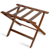 Deluxe Series Wood Luggage Rack, Walnut, Brown Straps, Price Per Each, 5 Per Case