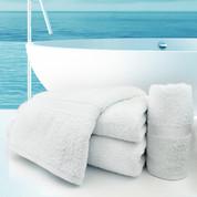 Oxford Regale Bath Towel 27x50, 14 lb., 100% Cotton, Dobby Border & Dobby Hemmed, White, 1 dozen