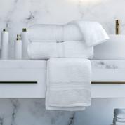 Oxford Vicenza Hand Towel. 16x30, 4.5 lb., 100% Cotton, Dobby Border & Dobby Hemmed, White, 1 dozen