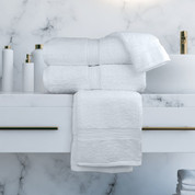 Oxford Vicenza Bath Mat 21x36, 12 lb., 100% Cotton, Dobby Border & Dobby Hemmed, White, 1 dozen