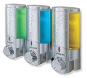 Better Living 76335 AVIVA III Shower Dispenser, Translucent Bottles, Satin Silver