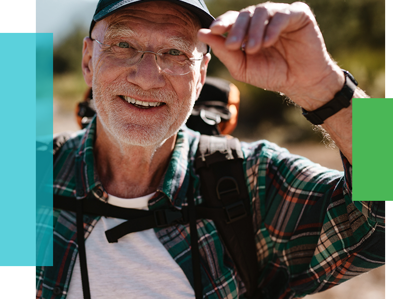 Elderly man able to go hiking after using a CPAP every night.
