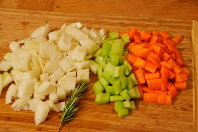 chopped onions carrots and celery