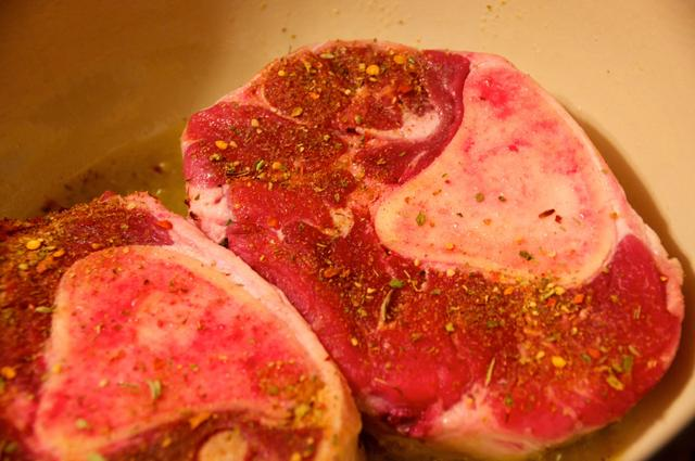 beef shank with italian seasonings in dutch oven