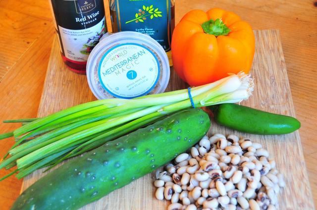 ingredients for mediterranean black eyed pea salad