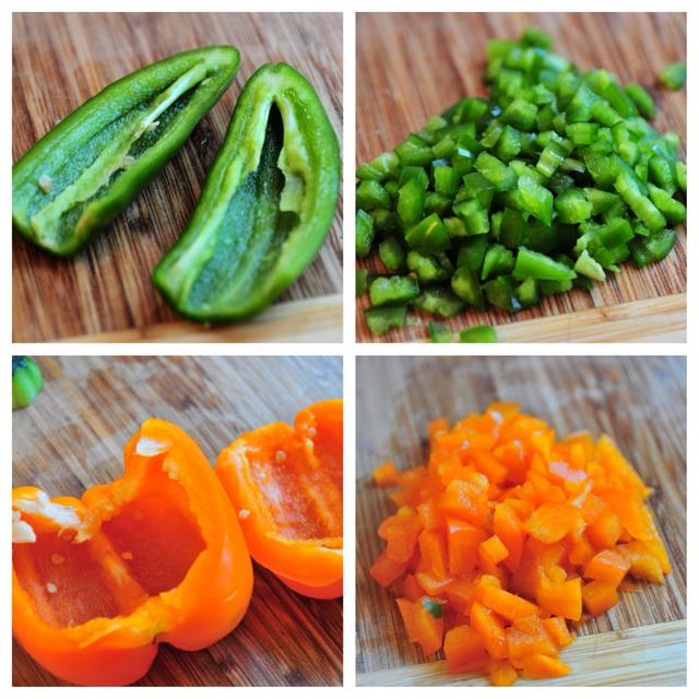 how to dice jalapeno and bell pepper