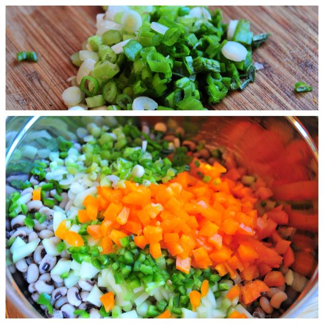 chopped green onion and vegetable mixture