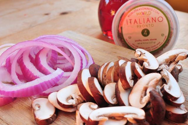 red onions and sliced mushroom with italian seasonings
