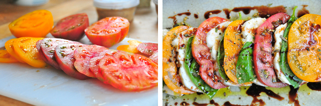 sliced tomato mozzarela and basil with all natural french seasonings