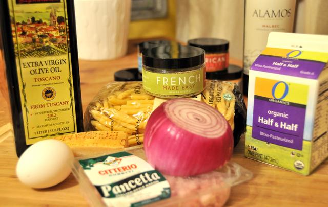 ingredients for carbonara with a french twist