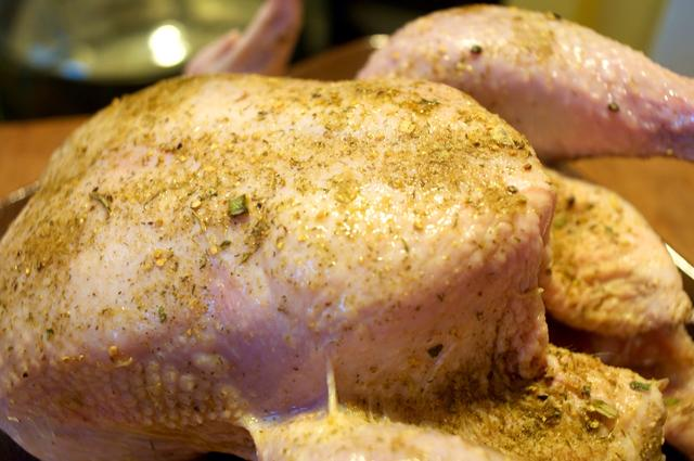 whole chicken rubbed in olive oil and french made easy seasonings