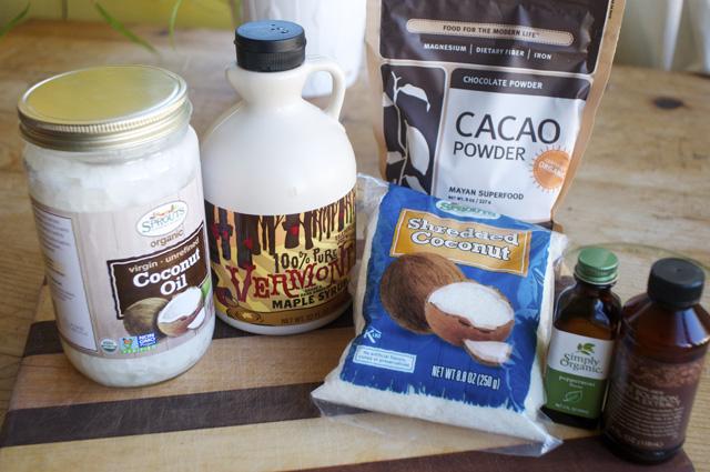ingredients for chocolate ganache coconut balls