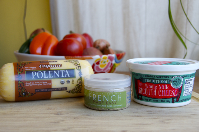 ingredients for creamy polenta with ricotta and parmesan cheese