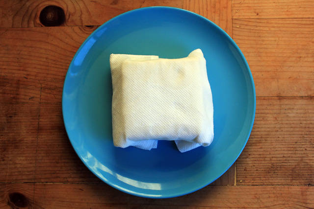 remove moisture from a block of firm tofu