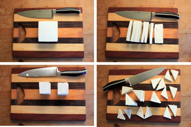 cut block of firm tofu into triangles