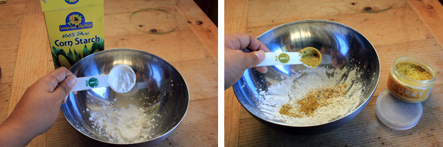 dry ingredients mixture of cornstarch and curry seasonings