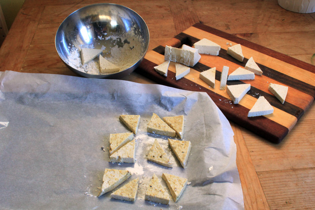 tofu triangles coated in dry mixture