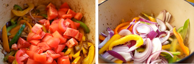 add chopped vegetables in dutch oven