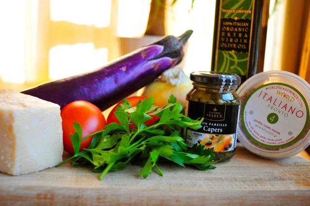 ingredients for deconstructed eggplant parmesan