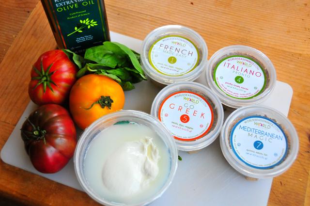 ingredients for heirloom tomato caprese using all natural gluten free seasonings