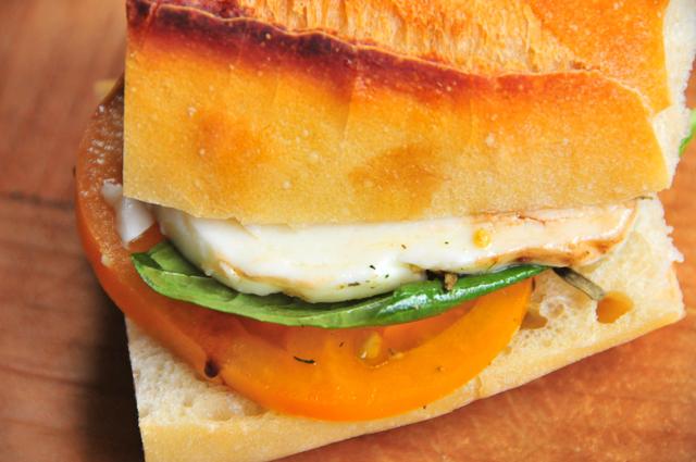 heirloom tomato caprese sandwich