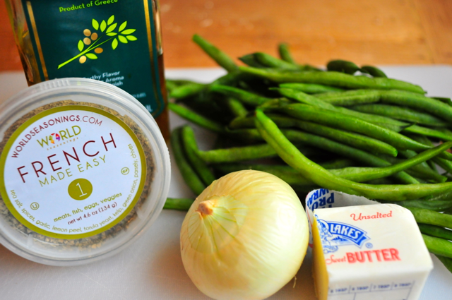 ingredients for sauteed green beans with onions and lemon