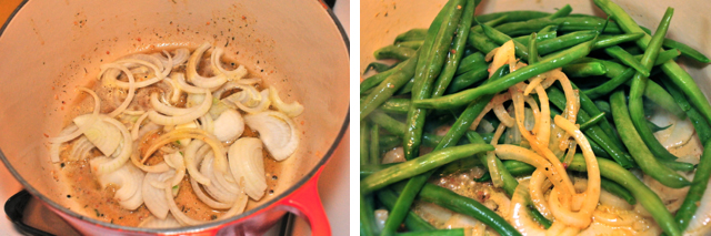 saute white onions and green beans