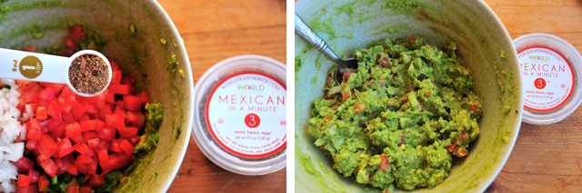 mix guacamole ingredients with mexican seasonings