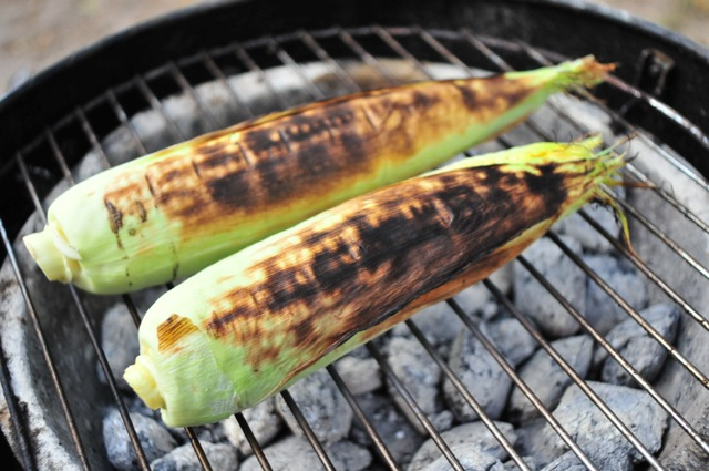corn on the cob on a charcoal grill