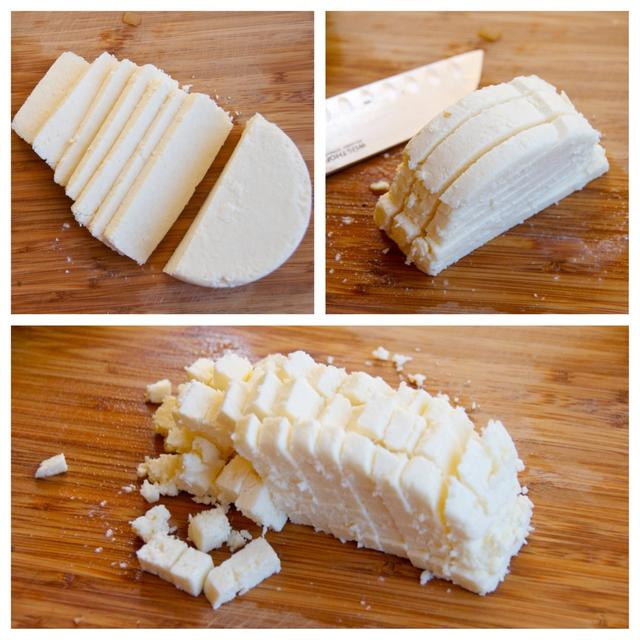 cut cotija cheese
