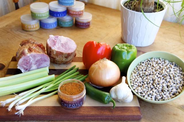 ingredients for hoppin john black eyed peas