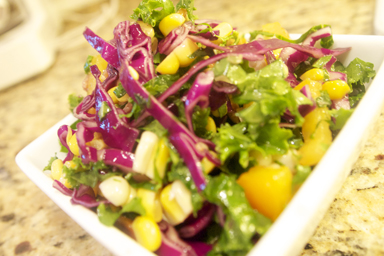 how to make kale and red cabbage salad with sesame dressing