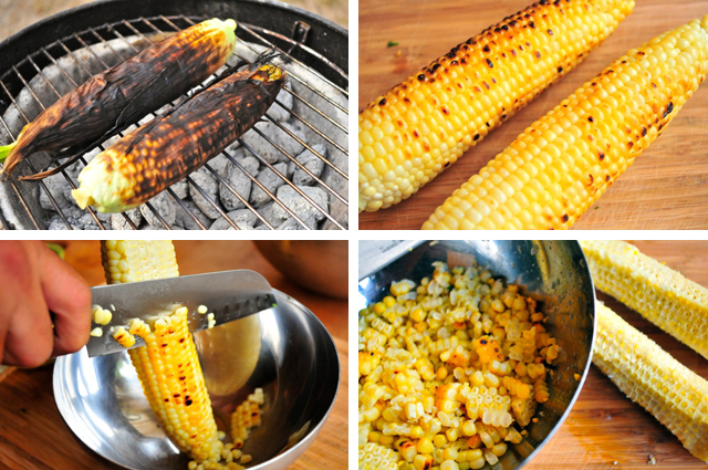 kernels cut from grilled corn of a cob