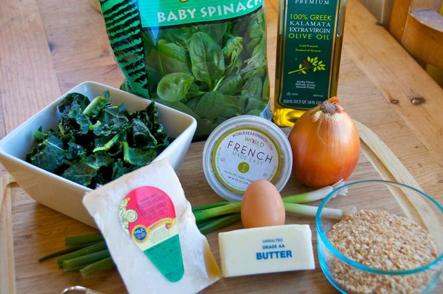 ingredients for spinach & kale cheese balls