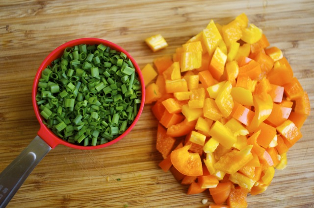 diced chived and orange bell peppers
