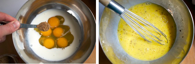 whisk eggs with milk and all natural seasoning blend of your choice