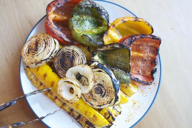 grilled summer squash with bell peppers and onions