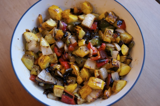 chopped grilled summer squash with bell peppers and onions