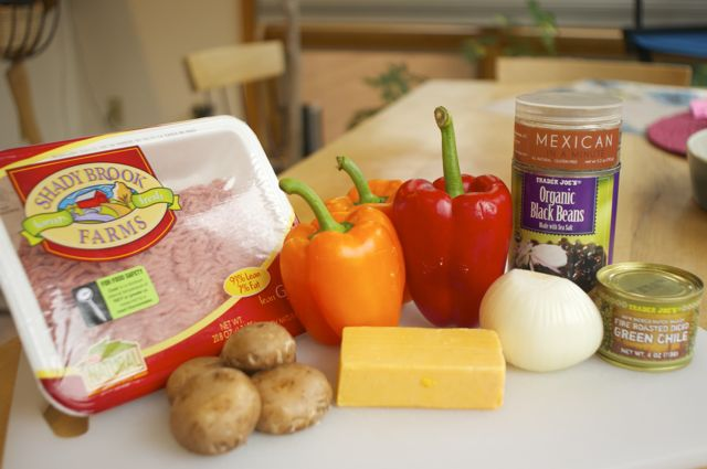 ingredients for mexican seasoned turkey stuffed peppers