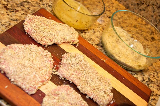 pound pork loin coated with egg wash and panko breadcrumbs
